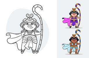Vector cartoon colorbook for children with an ancient egypt queen pig