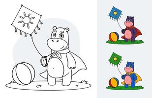 Vector color book page with hippo standing on grass with kite in hand