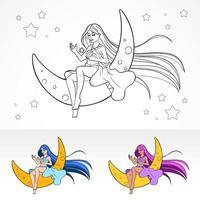 página de libro de color de vector de anime de dibujos animados
