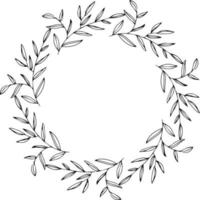 Round frame with doodle branches and leaves vector
