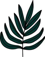 Dark green branch with leaves vector