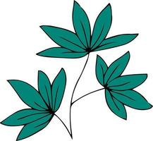 Green branch with leaves heart shape vector