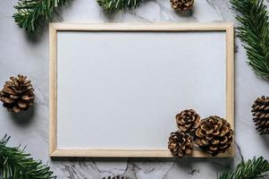 Mock up of flip chart on the cement floor with Christmas photo