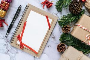 A notebook placed on a cement background with gift shop photo