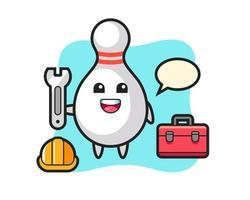 Mascot cartoon of bowling pin as a mechanic vector
