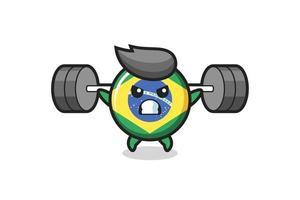 Dibujos animados de la mascota de la insignia de la bandera de Brasil con una barra vector