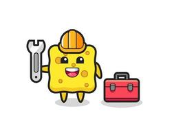 Mascot cartoon of sponge as a mechanic vector