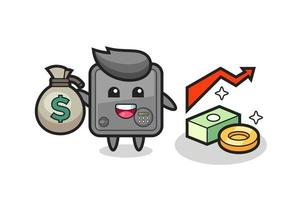 safe box illustration cartoon holding money sack vector