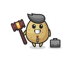 Illustration of potato mascot as a lawyer vector