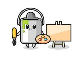 Illustration of paint tin mascot as a painter vector