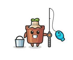 Mascot character of plant pot as a fisherman vector