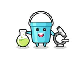 Mascot character of plastic bucket as a scientist vector