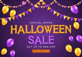 Halloween sale poster with flags and garland on blue background vector