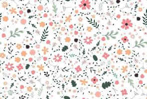 Cute colorful vector texture with flowers, leaves and plants