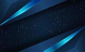shiny dark blue shape overlap background technology and futuristic vector