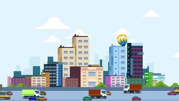 fundo de desenho animado - cidade com ruas movimentadas video