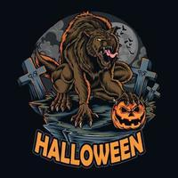 halloween werewolf on halloween night holding halloween pumpkin vector