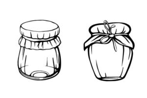 Jars of honey isolated on a white background. Bee honey vector