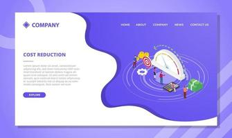 cost reduction concept for website template or landing vector