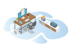work time with work desk table concept vector