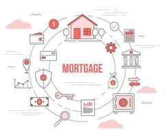 mortgage housing concept with icon set template banner vector