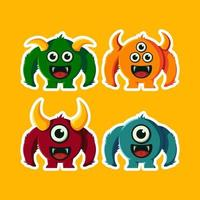 cute and funny devil monster cartoon illustration vector