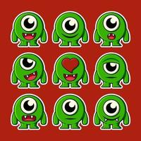 cute monster expression vector