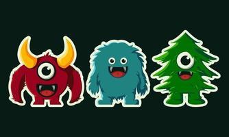 cute monster character illustration vector