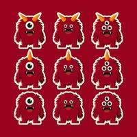 cute red devil monster cartoon vector
