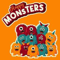 happy monsters family vector