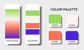 tropical gradient and solid color palettes swatch sets vector