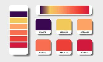 autumn gradient and solid color palettes swatch sets vector