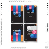 Cover design template set with abstract lines modern. vector