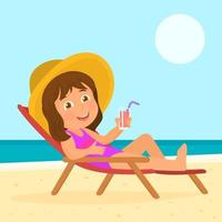 Girl with hat sitting on beach chair on the ocean shore drinking juice vector