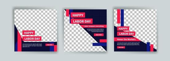 Social media post template for Labor day. vector