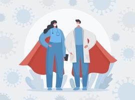 médicos y enfermeras superhéroes y covid 19 banner vector