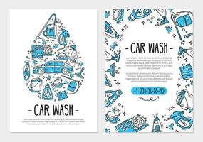 Flyer or poster for printing for the car wash and auto detaling vector
