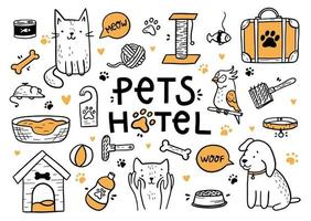 Pets hotel vector set in the Doodle style