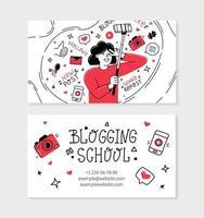 Blogging school visit card in Doodle style vector