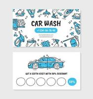 Visit card for printing for the car wash and auto detaling vector