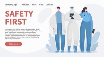 heroico hospital trabajadores médicos y enfermeras banner vector