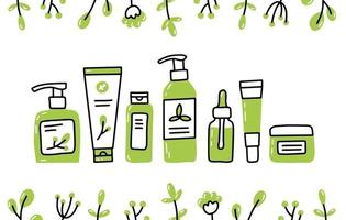 Eco natural organic cosmetics set in Doodle style vector