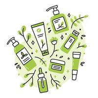 Eco natural organic cosmetics in Doodle style vector