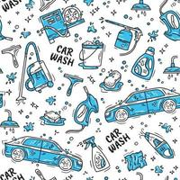 Car wash and detaling seamless pattern with icons vector
