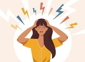Stress irritation factors, female bad mood anger vector