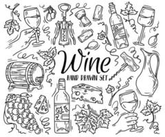 Vector linear set with wine and cheese in Doodle sketch style