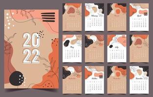 2022 Abstract Traditional Calendar Template vector
