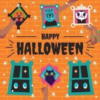 Halloween House Wall Decoration Concept vector