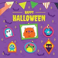 Hand Decorating Wall With Halloween Accessories Concept vector