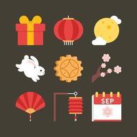 Mid-Autumn Festival Icons Set vector